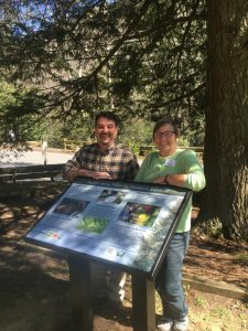 Town Administrator, Ron Nalley, and Montreat College Professor, Dottie Shuman, stand by newly installed sign
